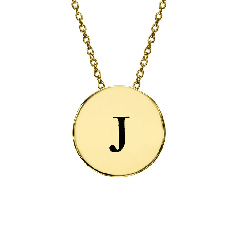 Initial Thick Disc Necklace in Gold Plating