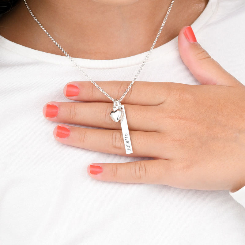 Name Bar Necklace for Girls with Heart Pendant in Sterling Silver - 2