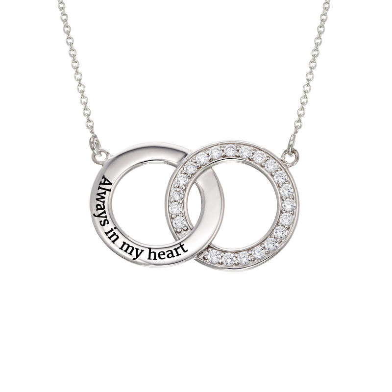 Cubic Zirconia Interlocking Circle Necklaces in Sterling Silver