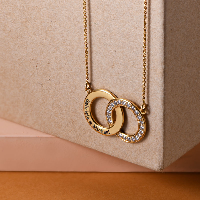 Cubic Zirconia Interlocking Circle Necklaces in Gold Plating - 1