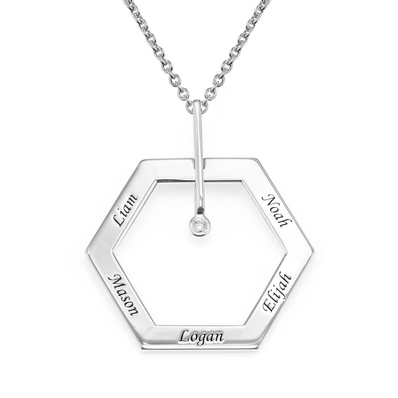 Personalised Engraved Hexagon Necklace in Sterling Silver with Diamond