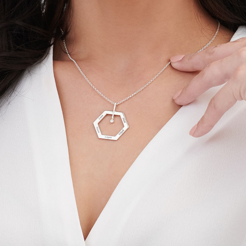 Personalised Engraved Hexagon Necklace in Sterling Silver with Diamond - 3