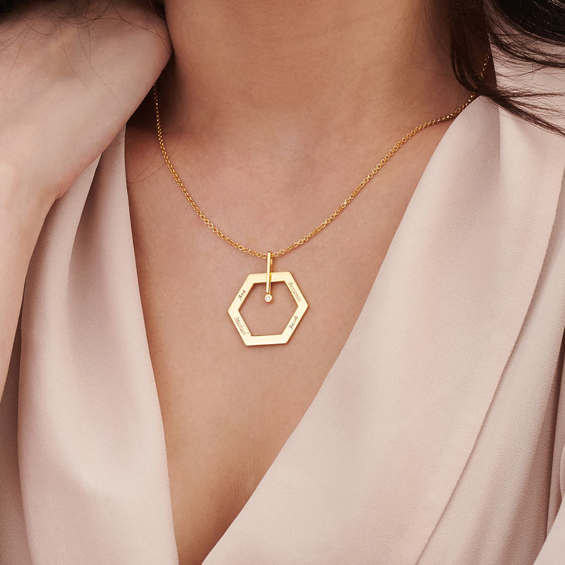 Personalised Engraved Hexagon Necklace in Gold Plating with Diamond - 3