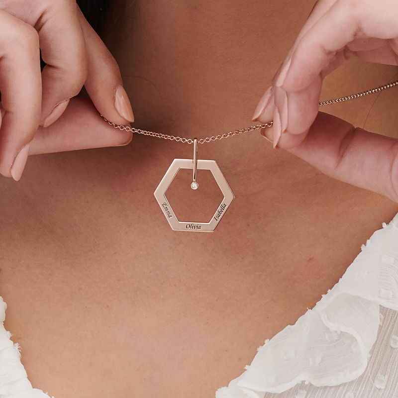 Personalised Engraved Hexagon Necklace in Rose Gold Plating with Diamond - 3