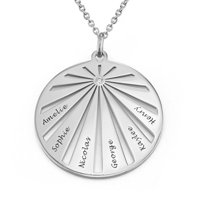 Engraved Circle Family Necklace with Diamond in Sterling Silver
