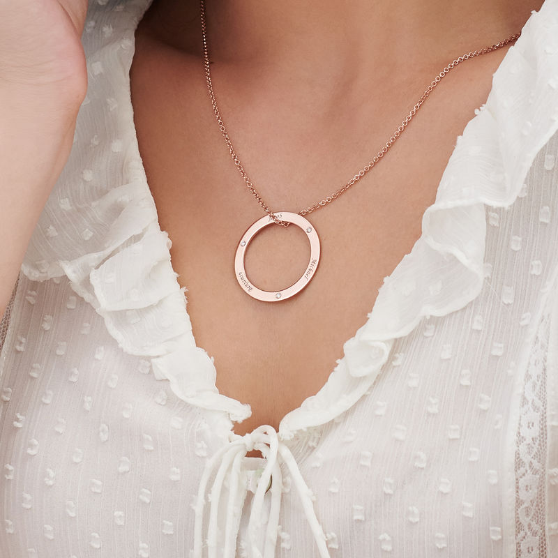 Engraved Family Circle Necklace for Mum in Rose Gold Plating - 3