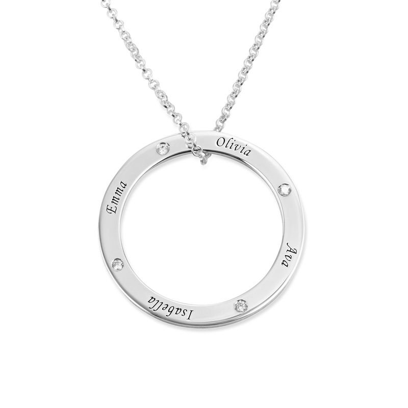 Personalised Ring Family Necklace with Diamonds in Sterling Silver