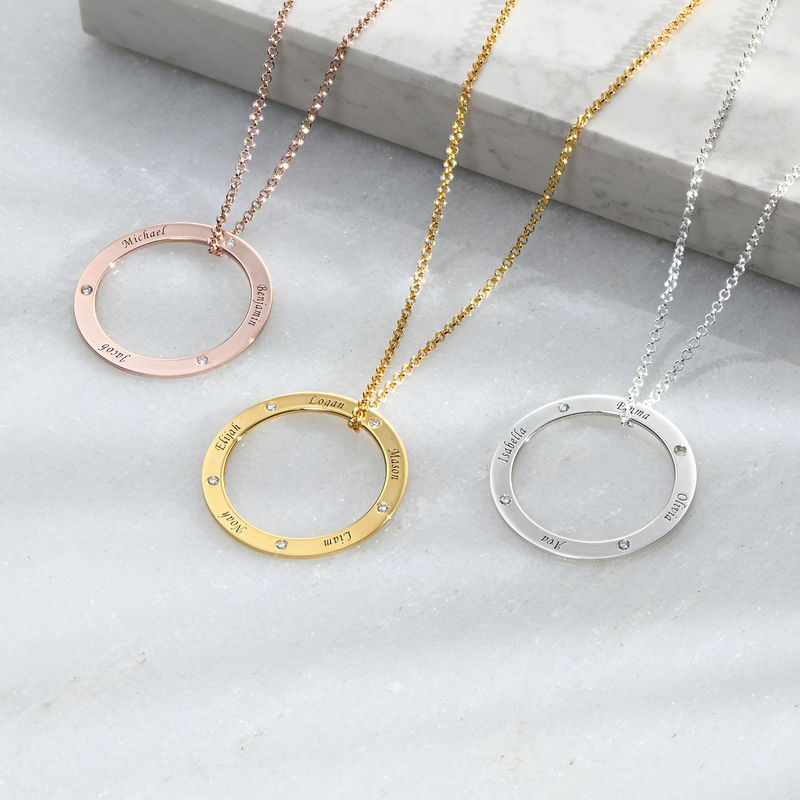 Personalised Ring Family Necklace with Diamonds in Rose Gold Plating - 1