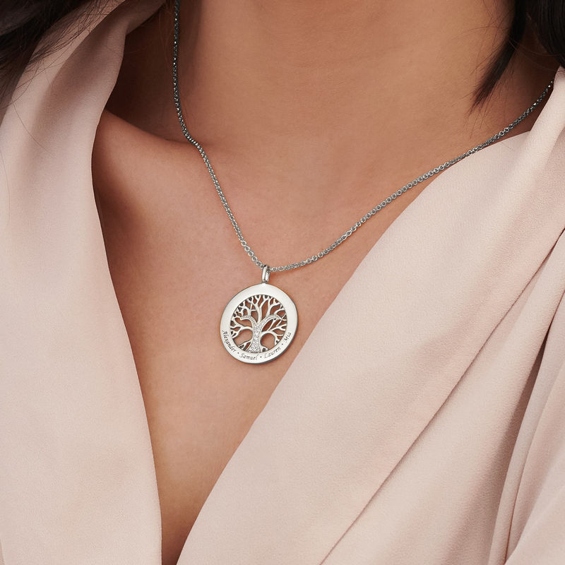 Family Tree Circle Necklace with Cubic Zirconia in Sterling Silver - 3