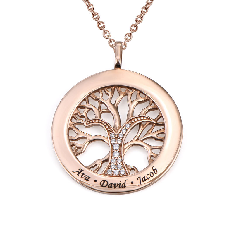 Family Tree Circle Necklace with Cubic Zirconia in Rose Gold Plating