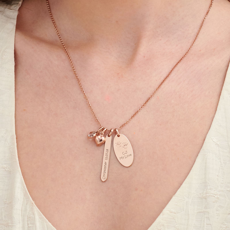 Personalised Mum Charm Necklace in Rose Gold Plating - 2