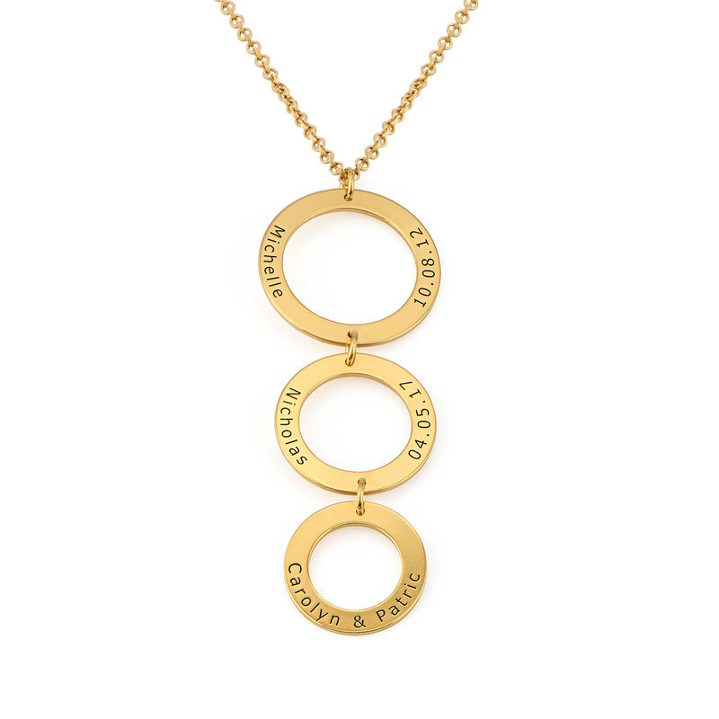 Engraved 3 Circles Necklace in Gold Plating