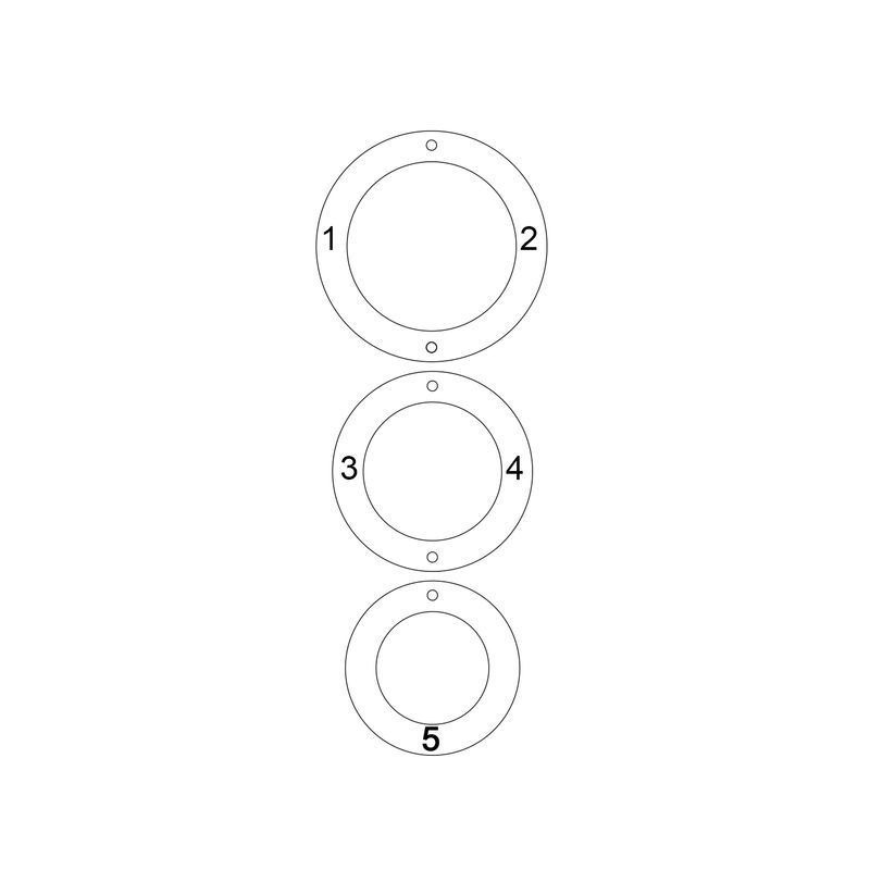 Engraved 3 Circles Necklace in Gold Plating - 3