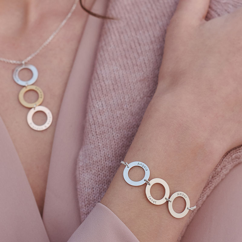 Personalised Vertical Hanging 3 Circles Necklace in Tri-colour - 4