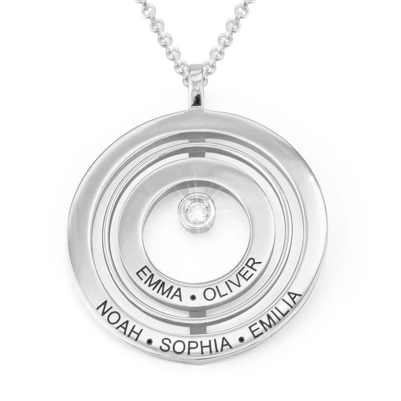 Engraved Circle of Life Necklace in Sterling Silver with Diamond
