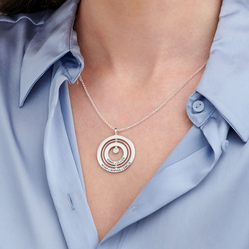 Engraved Circle of Life Necklace in Sterling Silver with Diamond - 2