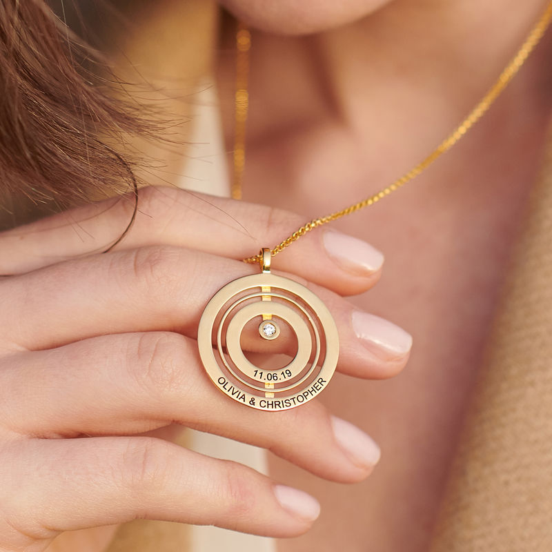Engraved Circle of Life Necklace in 18ct Gold Vermeil with Diamond - 3