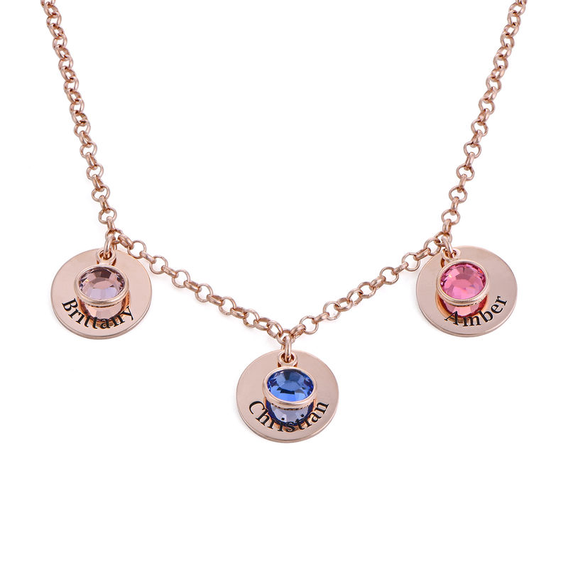 Mum Personalised Charms Necklace with Birthstone Crystals in Rose Gold Plating