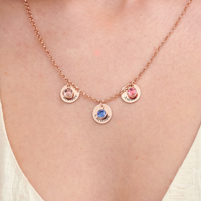 Mum Personalised Charms Necklace with Birthstone Crystals in Rose Gold Plating - 2