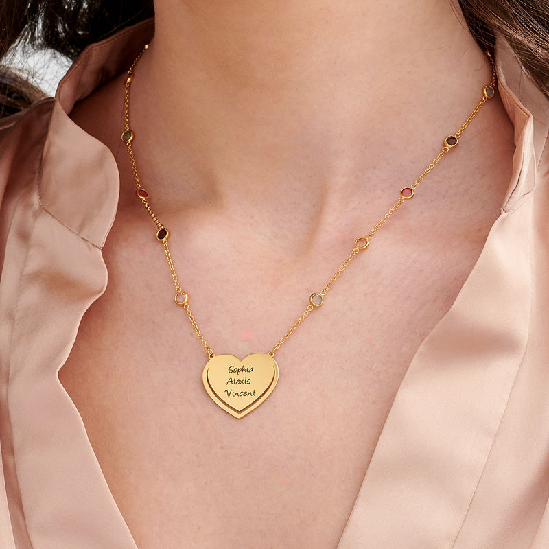 Engraved Heart Necklace with Multi-coloured Stones chain in Gold Plating - 2