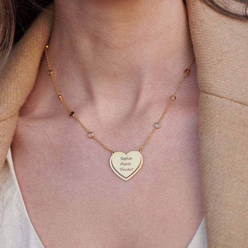 Engraved Heart Necklace with Multi-coloured Stones chain in Gold Plating - 3