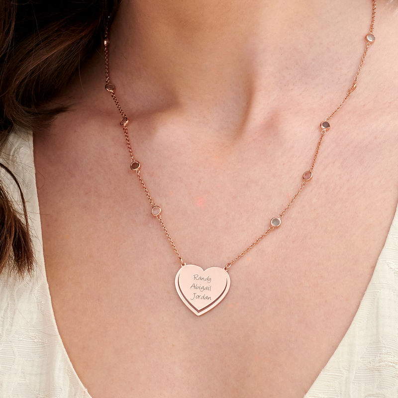 Engraved Heart Necklace with Multi-coloured Stones chain in Rose Gold Plating - 2