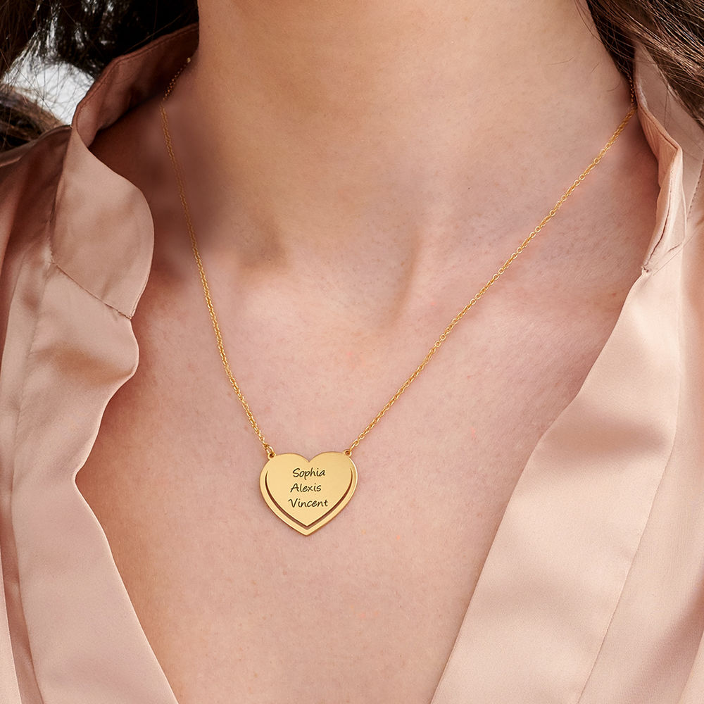 Personalised Heart Necklace in 18k Gold Vermeil - 2