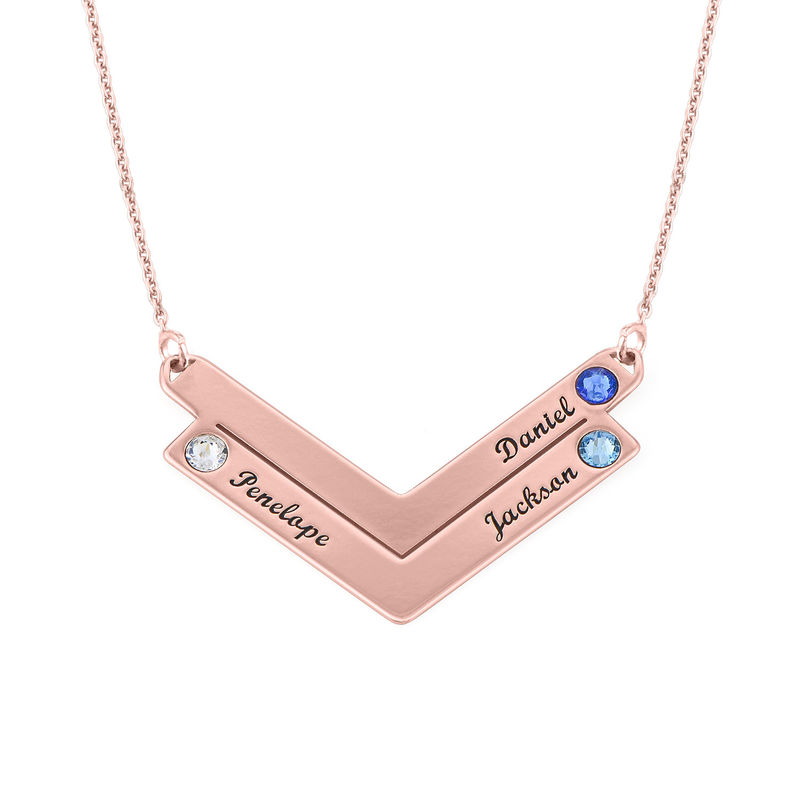 Swarovski Personalised Family Necklace in Rose Gold Plating