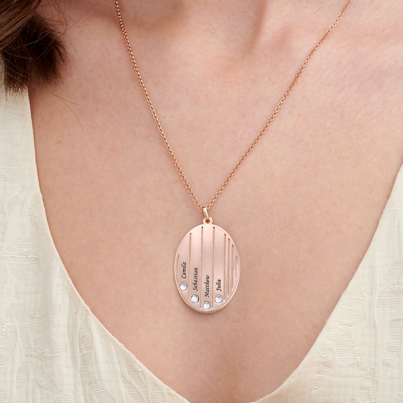 Engraved Family Necklace with Swarovski Stones in Rose Gold Plating - 2