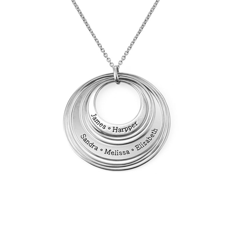 Engraved Two Ring Necklace in Sterling Silver