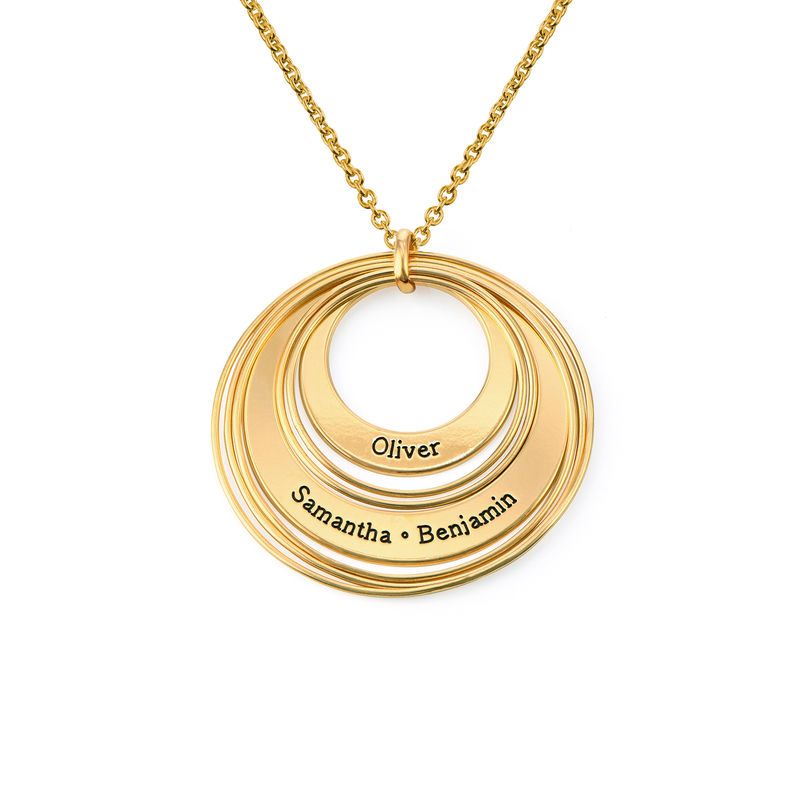 Engraved Two Ring Necklace in 18ct Gold Plating