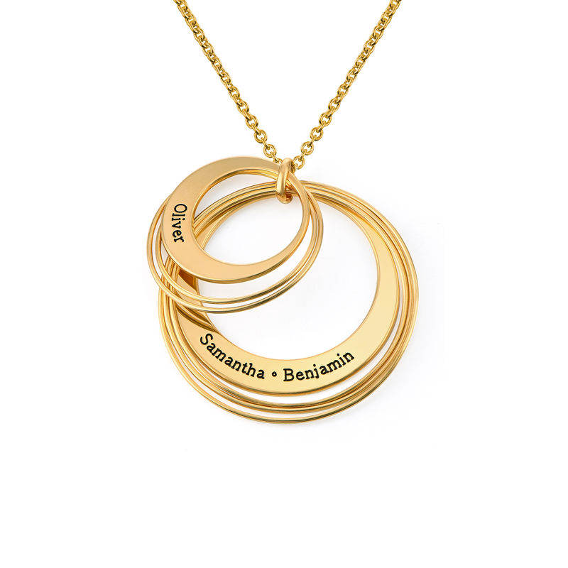 Engraved Two Ring Necklace in 18ct Gold Plating - 1