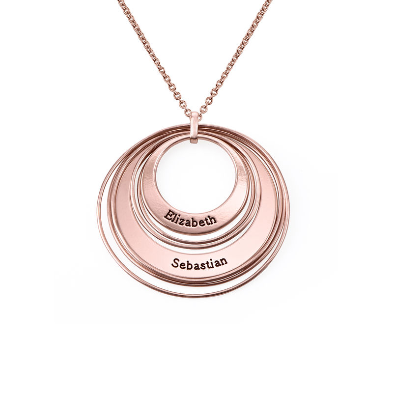 Engraved Two Ring Necklace in 18ct Rose Gold Plating