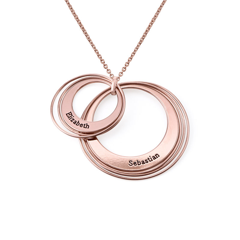 Engraved Two Ring Necklace in 18ct Rose Gold Plating - 1