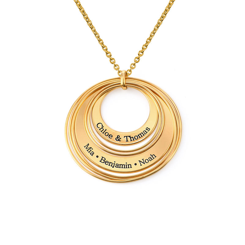Engraved Two Ring Necklace in 18ct Gold Vermeil
