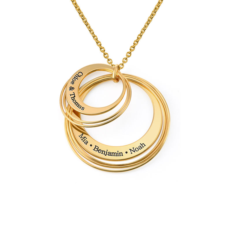 Engraved Two Ring Necklace in 18ct Gold Vermeil - 1