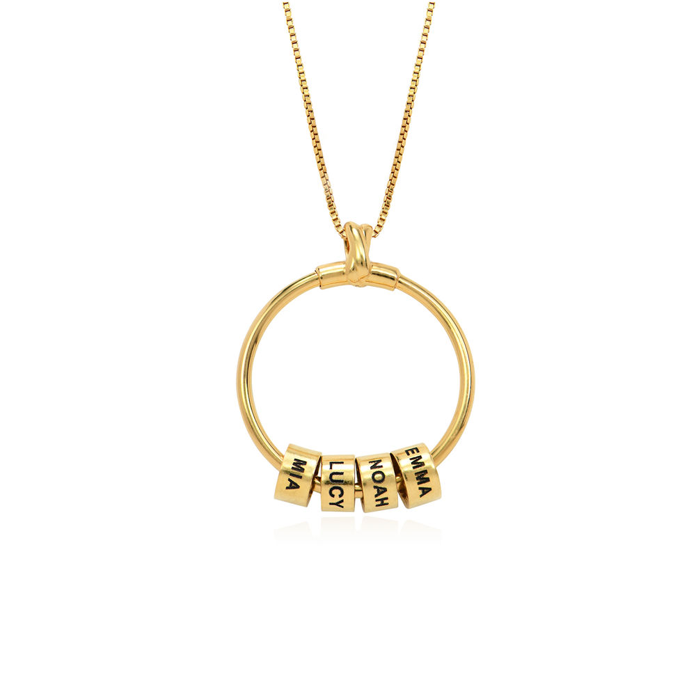Circle Pendant Necklace with Leaf And Custom Beads in 18K Gold Plating - 2