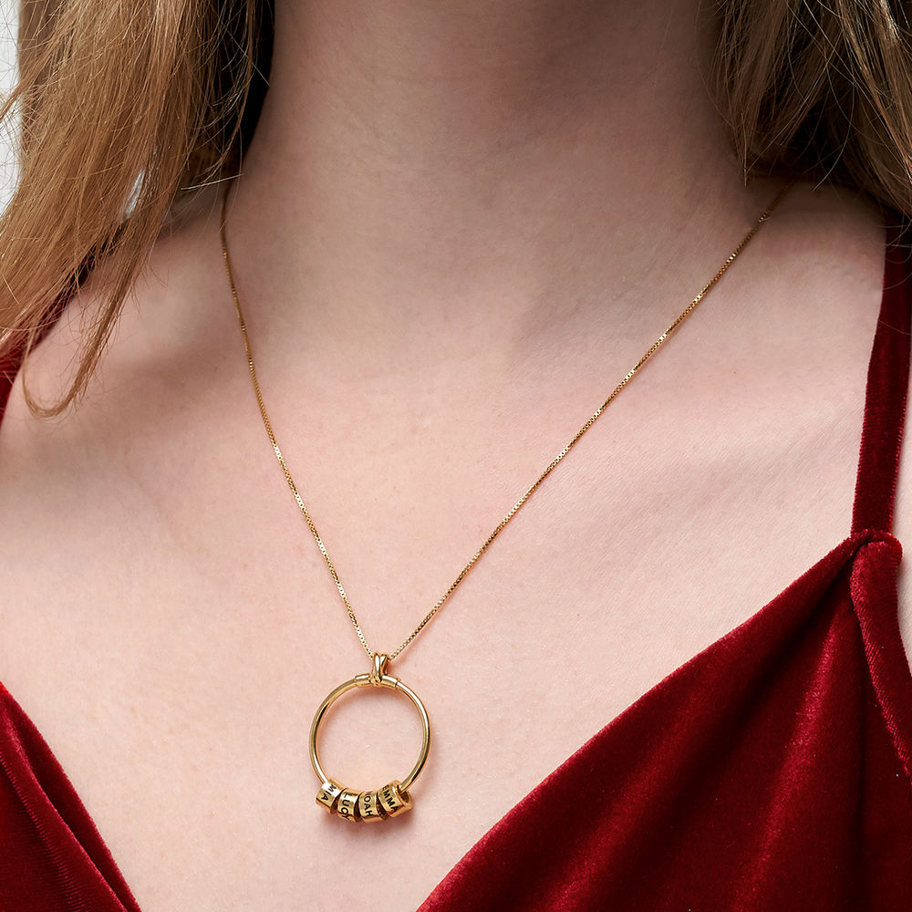Circle Pendant Necklace with Leaf And Custom Beads in 18K Gold Plating - 6