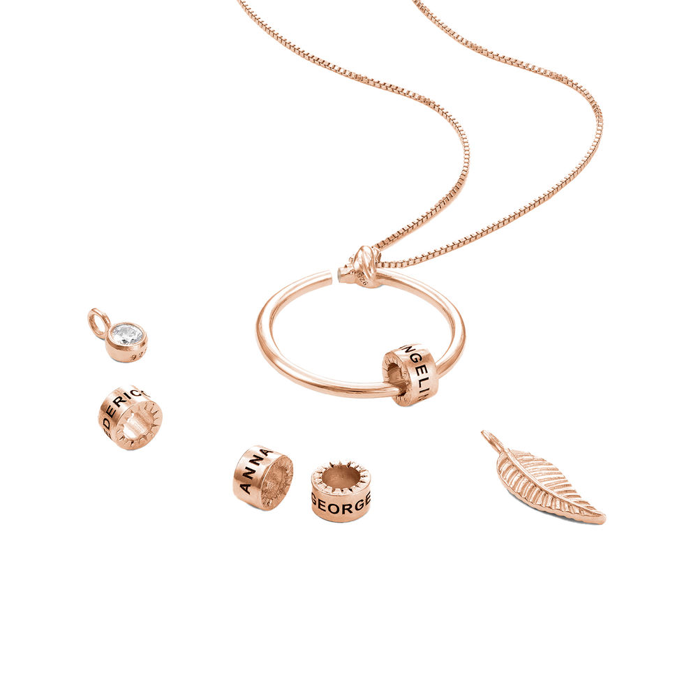 Linda Circle Pendant Necklace in Rose Gold Plating with Lab – Created Diamond - 2