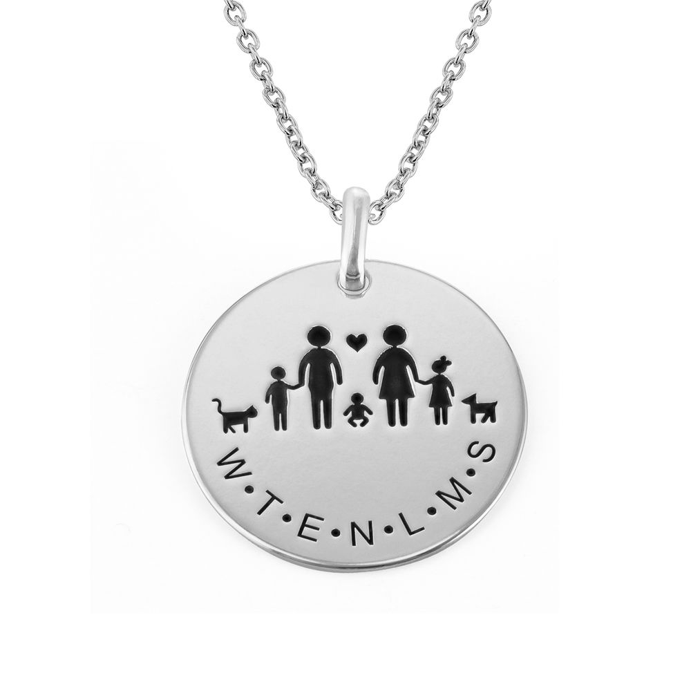 Family Necklace for Mum in Sterling Silver