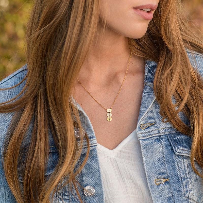 Vertical Initial Hearts Stackable Necklace in 18ct Gold Plating - 1