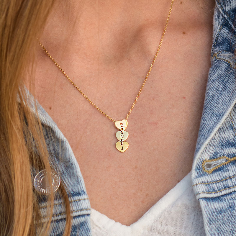 Vertical Initial Hearts Stackable Necklace in 18ct Gold Plating - 2