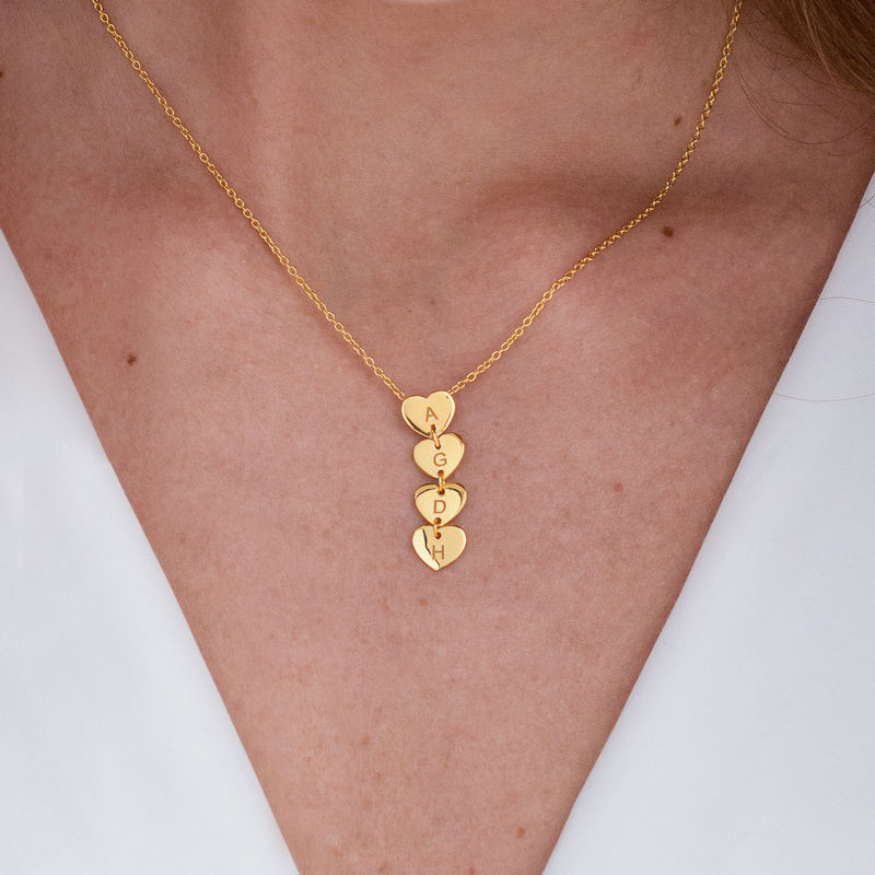Vertical Initial Hearts Stackable Necklace in 18ct Gold Vermeil - 2
