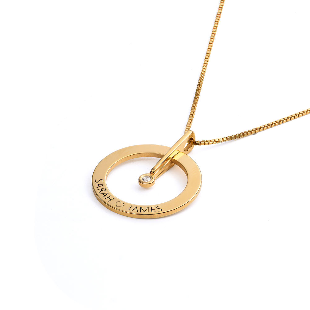 Personalised Circle Necklace with Diamond in 18ct Gold Plating - 1