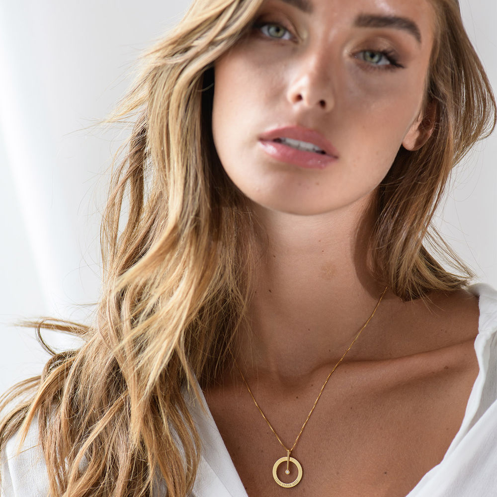 Personalised Circle Necklace with Diamond in 18ct Gold Plating - 3