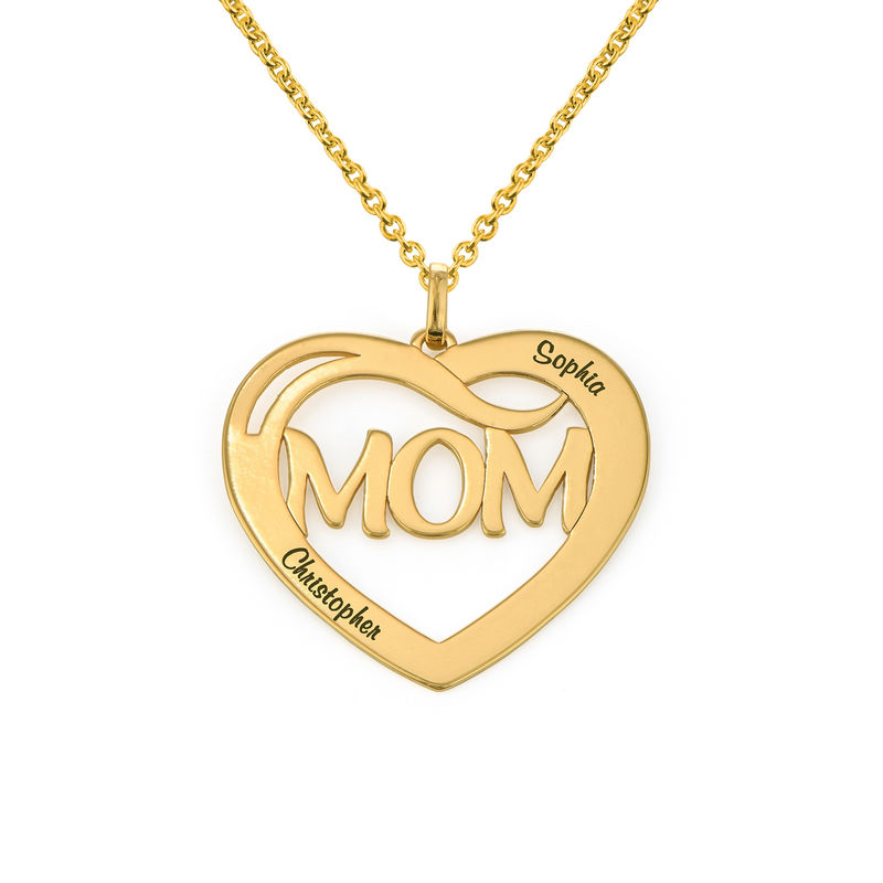 Mum Heart Necklace with Kids Names in 18ct Gold Vermeil