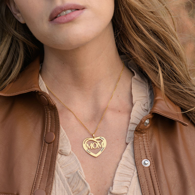 Mum Heart Necklace with Kids Names in 18ct Gold Vermeil - 1