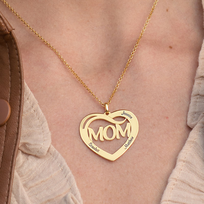 Mum Heart Necklace with Kids Names in 18ct Gold Vermeil - 2