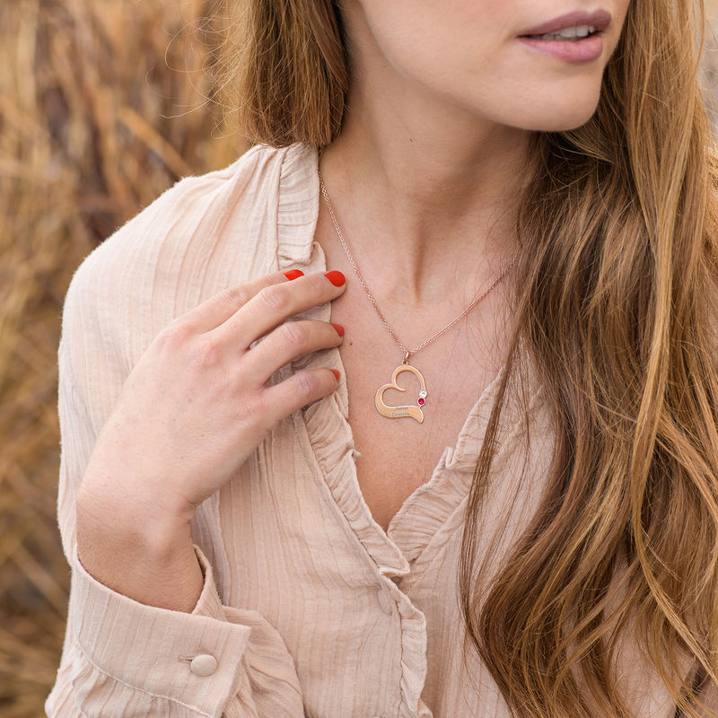 Personalised Birthstone Heart Necklace in 18ct Rose Gold Plating - 1