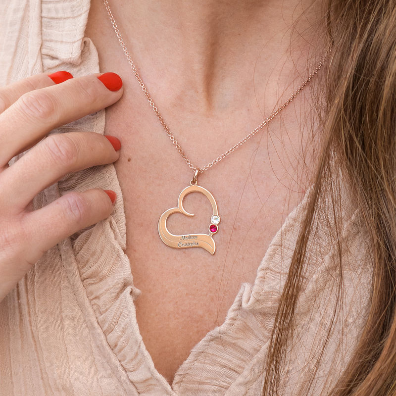 Personalised Birthstone Heart Necklace in 18ct Rose Gold Plating - 2